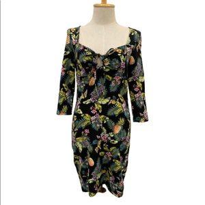 Forever 21 black tropical Hawaiian stretchy dress